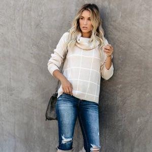 IBBIE Plaid Turtleneck Sweater